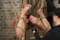 Tenacious brat cunt Mia Gold is challenged with uncomfortable standing predicament bondage, bamboo strappado, hogtie suspension, and anal orgasms.