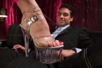 Hot Stripper seduces a man into the champagne room with her feet and makes him cum in her clear stiletto heels and puts them back on!