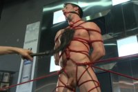 Straight stud Casey More gets beaten and bound while his cock is edged to cum