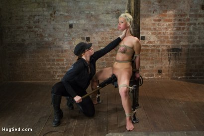 Hot blondie gets railed in challenging back arch suspension bondage, takes tough cunt caning, deep throat games, anal plug crotch rope & TONS of cum!