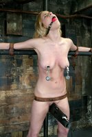Beautiful bound girl cums and cums.