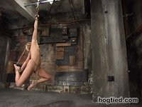 Fit girl tied down and machine fucked!