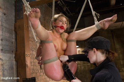Hot blonde bunny Dahlia is put to the test - made to shock herself in the cunt, endure foot caning, pile driver suspension, suction, and an inversion!