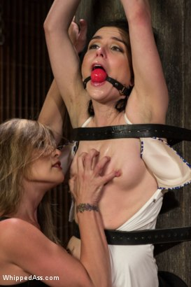 All natural BDSM lifestyler is destroyed and fucked in tough lesbian suspension bondage  and strap-on ass fucked then squirted on!