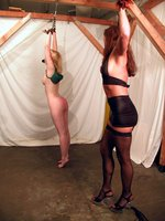Kym works Cowgirl, chains, whipping, strapon, guest Lily
