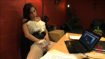 Busted Watching Porn at Work-Boss Punishes Bad Employee w/Her Own Cock