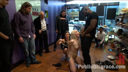 Slender Blonde gets Tied up and Fucked in Public