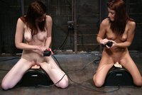 Justine Joli and Sarah Blake reach orgasms fucking machines.