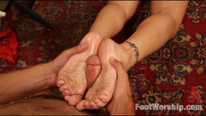 Famous actress is having a willing fan to worship and fuck her feet
