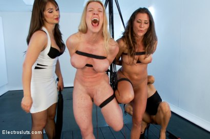 Big-Tit submissives get electro-tortured by hot Dommes Isis Love and Lea Lexis LIVE for your pleasure!!!