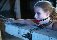 It's nice to see a pretty girl get tied up, flogged and fucked.