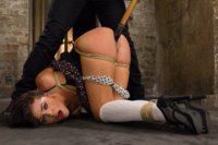 Fresh faced Adriana Chechik overwhelmed with bondage and pussy play till she is deliriously cumming all over the set.