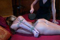 she unleashes pain and pleasure on her helpless slave.