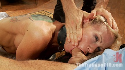 The training of a domestic milf day two. MILF Slave is humiliated in domestic sex service, face fucked, banged doggie style in the vagina and made to say thank you Sir.