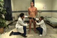 Surfer boy Kip Johnson's physical exam goes awry when two impostors torment and edge his giant cock at the doctor's office