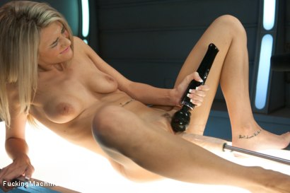 Tanned, toned, blonde babe gets her pussy fucked open & creamy by custom speed machines that make her cum multiple times & don't stop fucking her slit
