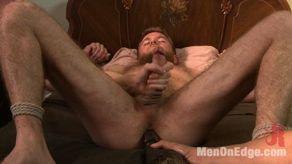 Haired dude gets his uncut penish edged. Hot stud Drake Temple is bound and has his uncut cock edged to the extreme by two pervs