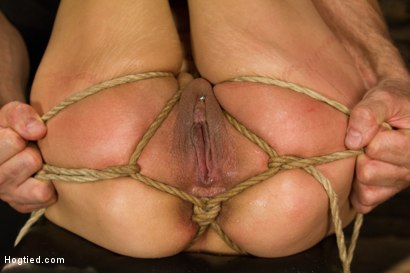 Horny latin babe gagged and tied tight, zippered, made to orgasm over and over, pussy tied wide open for hard dildo fucking