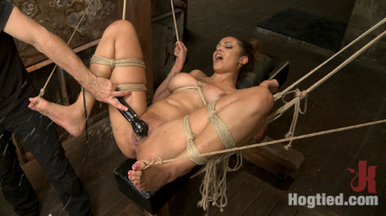 Unfuckingbelievable soaking wet squirting snatch and huge natural boobs. Huge Natural breasts and Super Soaked Squirting Snatch get tied to Sybian, nipple clamps all over tits, squirting orgasms with Vibe