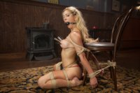 Beautiful blonde babe tied and fucked, nipples clipped, face fucked while in bondage, doggie style fucked, banged on her back, come all over her pussy