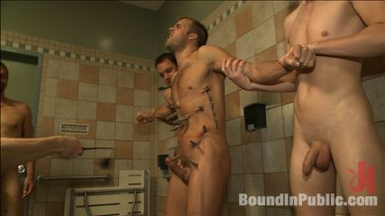 Hot ripped stud molested and gang have sex at local sex club. Lusty crowd of men at Eros Sex Club gang bang and torture bathhouse slut Connor Patricks before showering his face in cumshot