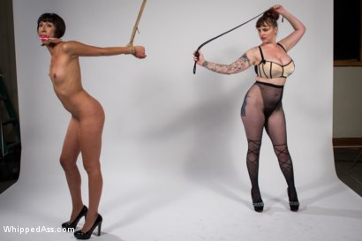 Vivi Marie proves her devotion to pain as Mz. Berlin single tails, shocks, clamps, and doubly penetrates Vivi's innocent holes.