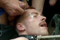 Damien Moreau has balls tied up and shocked as he's abused, fucked and humiliated at Stompers Boots