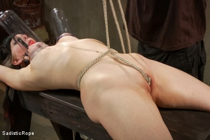 bondage rope Tits and crotch tied