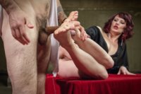 Maitresse Madeline hypnotizes, teases and milks the cum from foot lovers cock while he gives me orgasm just from sucking her toes!