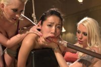 18 year old co-ed gangbanged and Dp'd by 3 sadistic lesbians for her first time!