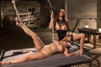 Big tit slut experiences harsh lesbian BDSM sex with sexy domme, Gia Dimarco. Pussy licking, spanking and strap-on sex.