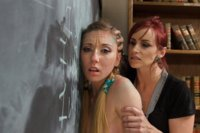 Cheating co-ed gets punished and strap-on ass fucked by her kinky lesbian professor.