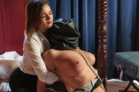 Hot blonde curvy MILF gets ass fucked and punished by two lesbian spa workers by surprise.