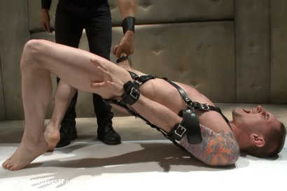 Jay Rising with a 10 inch fat cock gets tortured and made to cum.