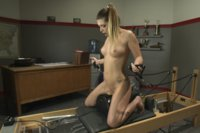 Athletic babe sneaks into coach's room, finds dongs & vibes & fucks herself on his desk with all his machines & gadgets. She cums on his bench & balls