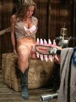Beautiful pin-up, Rita Faltoyano, cums on the machines.