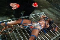 Buxom Jada Fire is a fun bondage toy that moans, groans and cums