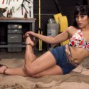 Mia Li Sneaks Into the Garage to Give a Foot Job