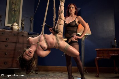 Broke college student submits to strap-on anal, sex in bondage, spanking, first time squirting with sadistic lesbian to pay for her apartment.