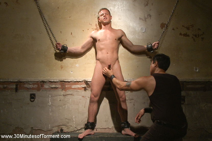 Joseph rough the stud can really take it. The Wall - Hot pain slut, Joseph violent thinks he has what it takes to surpbooty the challenge that 30 Minutes of tormented has in store. He begins his first task with his hands and feet chained to the wall as Van gets his cock rock violent for a flogging. The boy embraces the leather whip against his skin before his nipples are pulled inviting and tight and his torso beaten down with Van's fists. - The Pit - With his hands bound behind his back, Joseph's given the cat-o-nine tails before metal clover clamps pinch against his supple skin. - The Gimp Station - Joseph has his hands and feet bound together as Van warms his booty up with the bamboo cane. The gimp is then let loose, his violent cock ready to have sex Joseph from both ends. With the gimp pounding away, Joseph finishes his three challenges by finally blowing his load.
