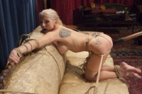 Gorgeous Christie Stevens Hogtied and penetrated pussy on the coffee table, pussy tied open and fucked doggie style, spread open on the bed and vibrat