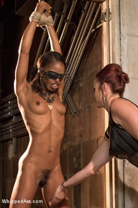 Marie Luv put through lesbian punishment, pussy licking and strap-on anal sex!