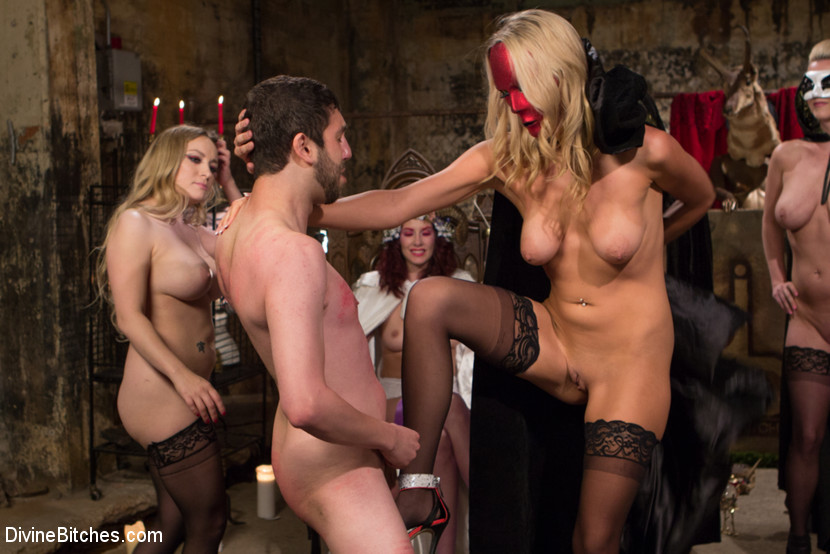 Cfnm group of femdoms sucking and tugging 8