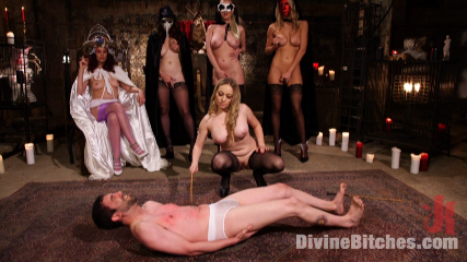 A whole bunch of sluts are having femdom orgy pissing all over the submissive male slave