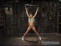 Hot Blonde Leah Luv gets hogtied to a chair