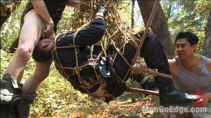 Officer bullet  booty make love and edged in the middle of the woods. Officer Jimmy Bullet gets taken down in the middle of the woods by two perverts before they fuck his arse and relentlessly edge his aching cock