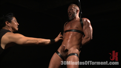Muscled hunk dirk caber relentlessly tormented and his ass violated. Muscled hunk Dirk Caber endures big tortured while having his butthole hole violated