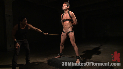 Hot stud pushes his limits to the max. Micky Mackenzie pushes his limits to the max before blowing his load all over the place!