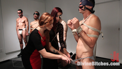Chastity cock suc. Slave is sold at art auction and used like an animal, put in chastity and has his chastised cock sucks by excited mistress.