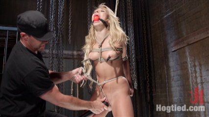 Never been bound 19 year old bitch loves it. 19 year old Carmen Caliente is a rope bondage virgin, takes giant black dildo in her cunt, giant red ball gag, nipple clamps, severe crotch rope